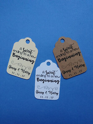 20 personalized Wedding favor tags A sweet ending to a new beginning. Your - Sweet Ending