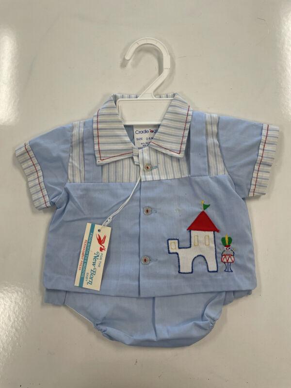 Vintage Cradle Togs Boys 0-6 Months 2 Piece Outfit Blue Soldier And Castle
