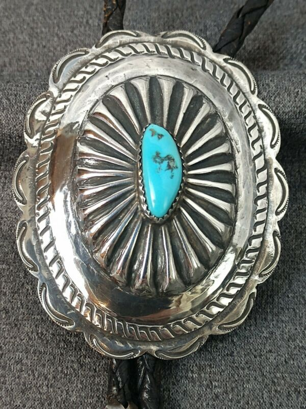 Vintage Navajo Domed Stamped Concho Sterling Silver Turquoise Leather Bolo Tie