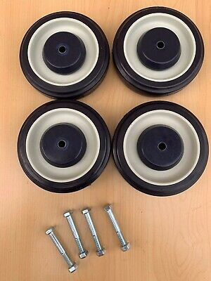 Set Of Pemco 4 Replacement Shopping Cart Wheels 5 Inch With Axle Bolts Dia.