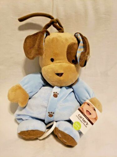 Carters Puppy Dog Musical Crib Pull Toy Blue Brown Paws Plush Stuffed Animal