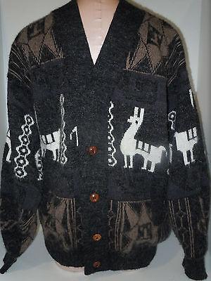 ARTESANIAS RAMOS Mens Cardigan Button Front Sweater Sz XL-Large Gray White Wool
