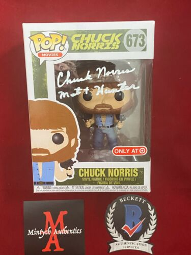 CHUCK NORRIS AUTOGRAPHED SIGNED FUNKO POP #673! MATT HUNTER! BECKETT COA!