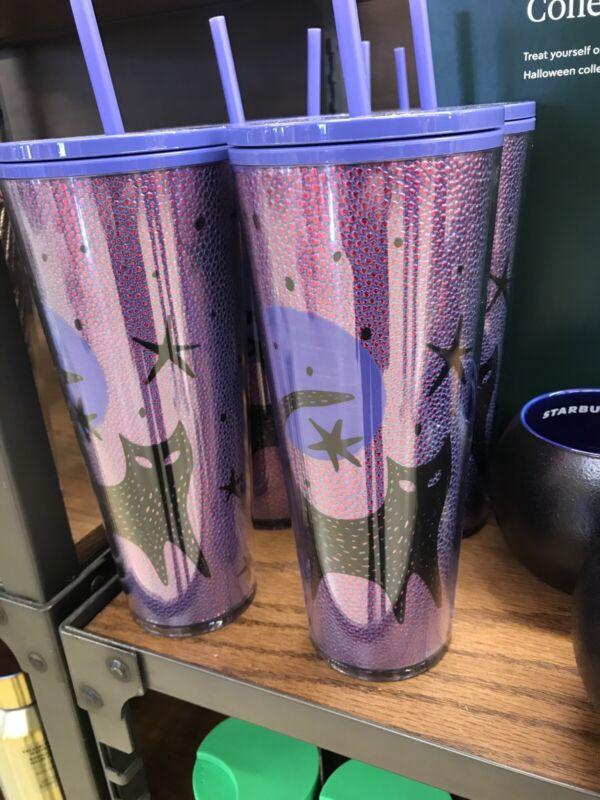 Starbucks Halloween 2020 Black Cat Moon Stars Purple 24oz Venti Cold Cup Tumbler