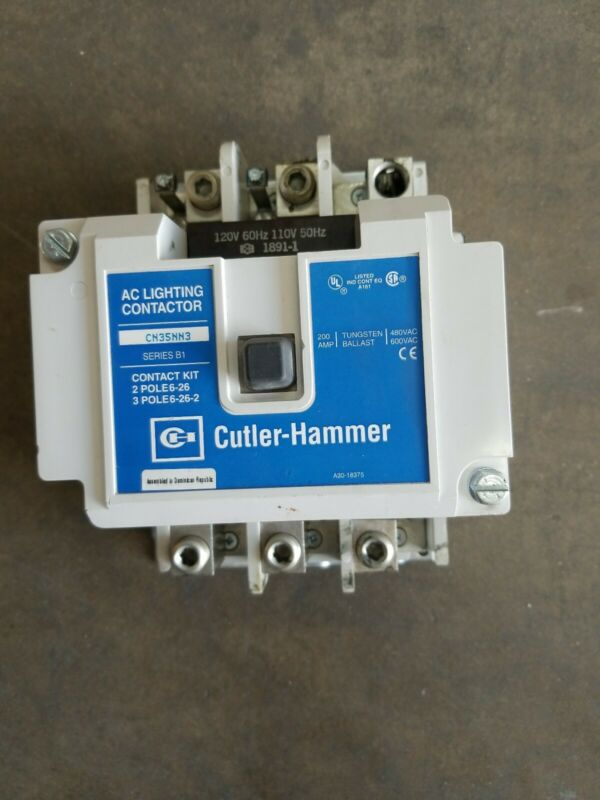 EATON CUTLER HAMMER CN35NN3 200A LIGHTING CONTACTOR 3 POLE WITH 120V COIL