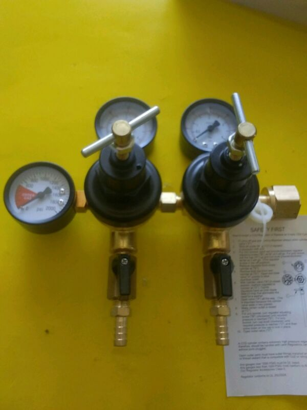 Co2 Beer Regulator Two Safety Discharge Dual Pressure Kegerator Heavy Duty,***