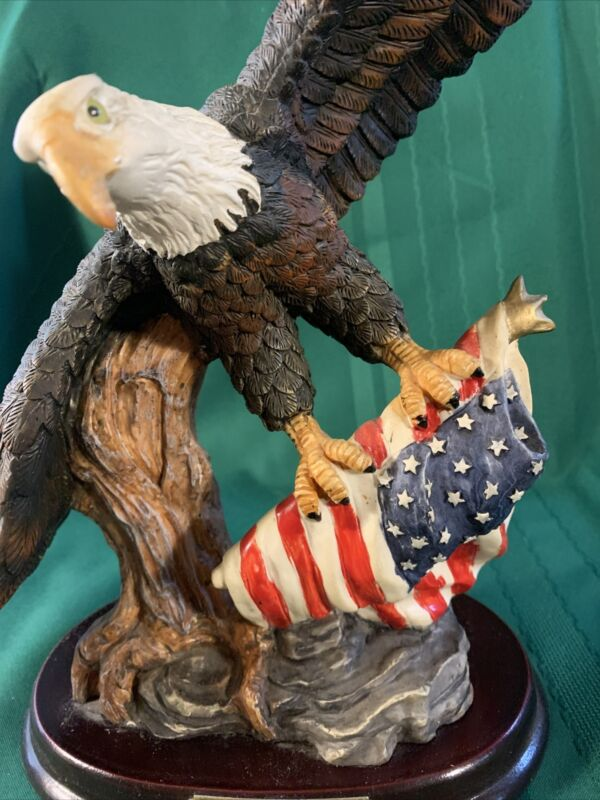 "Flying American Spirit BALD Eagle Sculpture On Base Grasping Flag 13"" Tall"
