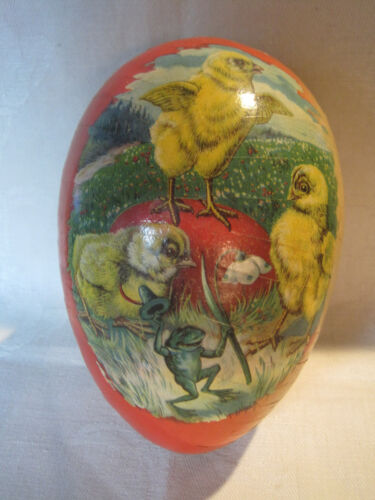 Vintage paper mache Easter egg candy container Germany, chicks & frog