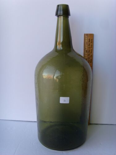 "Antique Open Pontil Demi-John Bottle 3 piece mold.applied lip,whittled 15"" 39/2"