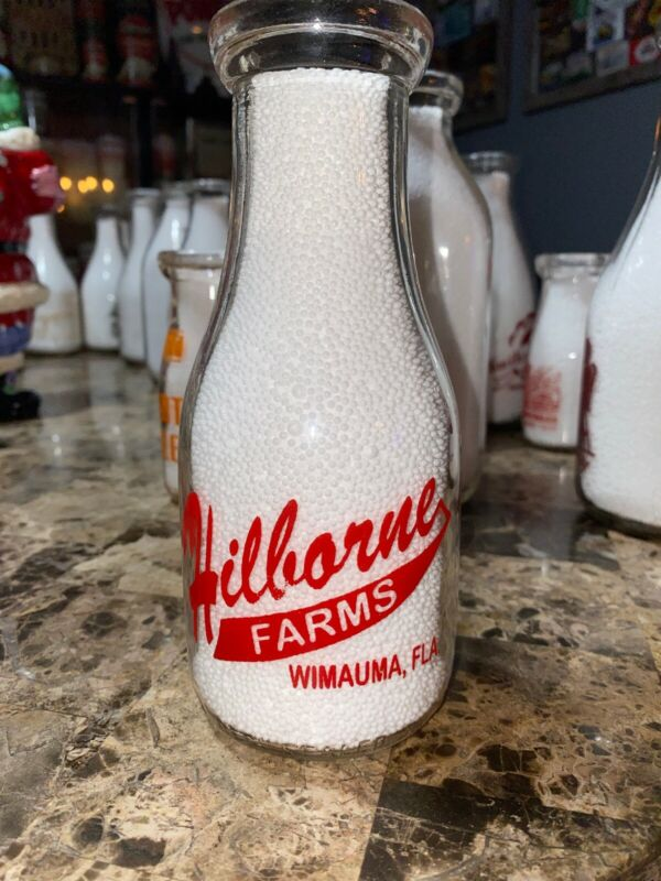 Hilborne Farms Pyro Florida Pint Milk Bottle Wimauma, FLA. War Bonds on back.