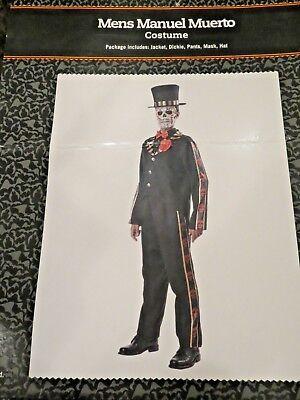 DELUXE MEN'S DAY OF THE DEAD/DIA DE LOS MUERTOS FULL COSTUME - SIZE LARGE - Dia De Los Muertos Man Costume