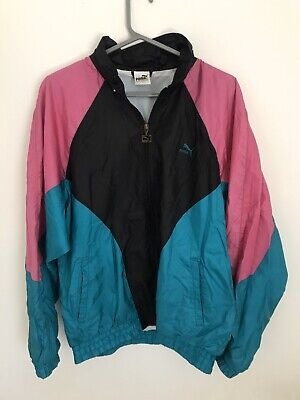 Vintage Puma Shell Suit Sports Jacket In Blue / Black / Pink Size Large