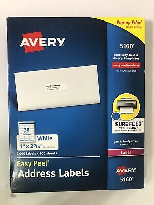 Avery 5160 Easy Peel Address Labels White 1 X 2-58 Inch 2940 Labels New