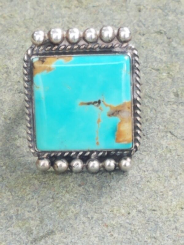 Vintage Native American/ Navajo turquoise / sterling ring; Gary Reeves; size 8