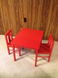 Red IKEA little kritters table and 2 chair set