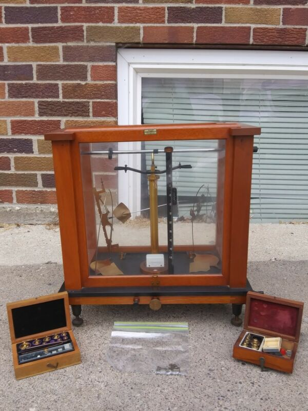 Antique Seederer-Kolbusch Apothecary Scale Beam Balance Scale Extra Weights EXC
