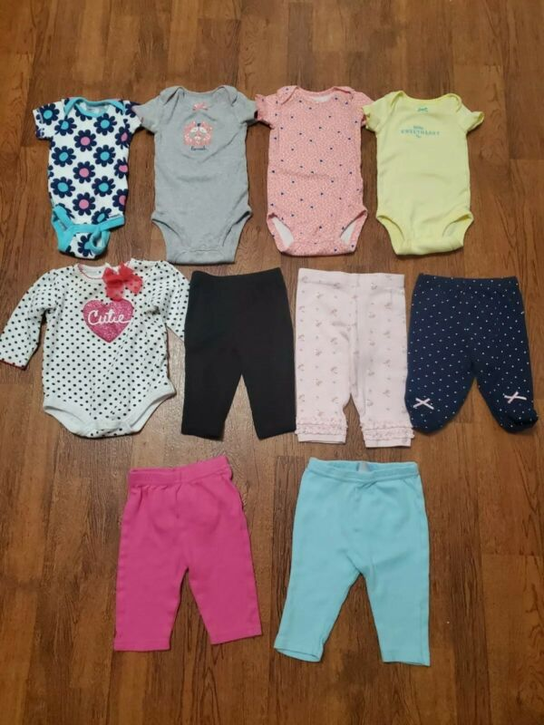 Infant Baby Girl Carters Etc Clothing Lot 0-3 Months 10 Pc (lot 1)