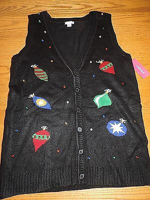 Women's Ugly Christmas SWEATER VEST size Large Black with ornaments Gems NWT