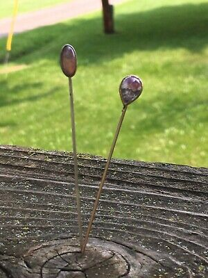 2 Vintage Antique Moonstone & Jelly Opal Stick Pins