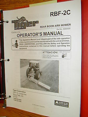 Tiger Rear Side Boom Arm Mower Operation Maintenance Manual Parts Book Catalog