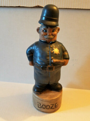 VINTAGE HAND PAINTED ALBERTA MOLD POLICE OFFICER CERAMIC LIQUOR DECANTER (EMPTY)