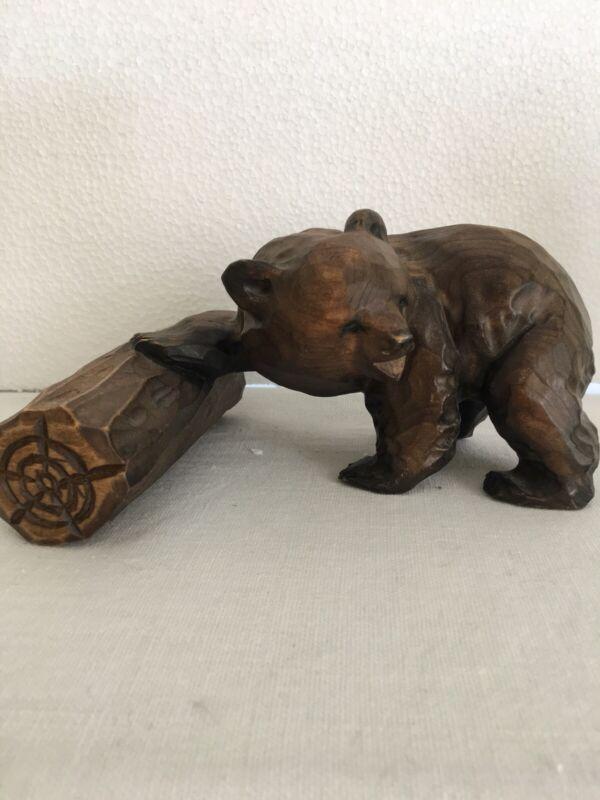 S. Takahashi Carved Bear Sculpture Vintage