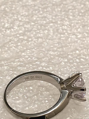 2 CT ROUND CUT DIAMOND SOLITAIRE ENGAGEMENT RING 18K WHITE GOLD ENHANCED 70