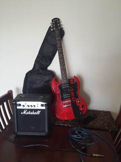 RED EPIPHONE ELECTRIC SG GUITAR with amp, etc... Kincumber Gosford Area Preview