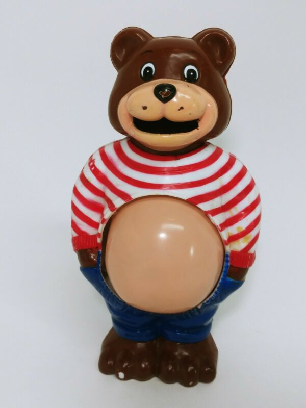 JSNY Pot Belly Bear Vintage Piggy Bank Growing Stomach Plastic Coin Bank