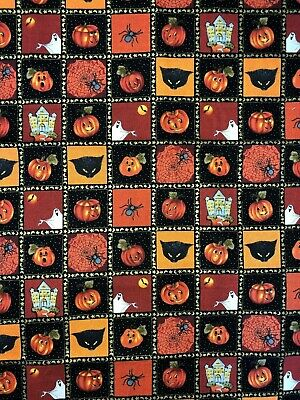 Northcott Harvest Moon Halloween Cats Ghosts Spiders Pumpkin Blocks Fabric BTHY](Harvest Halloween)
