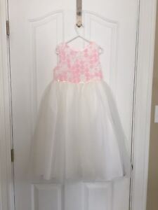 Fancy flower girl dress pink and white.