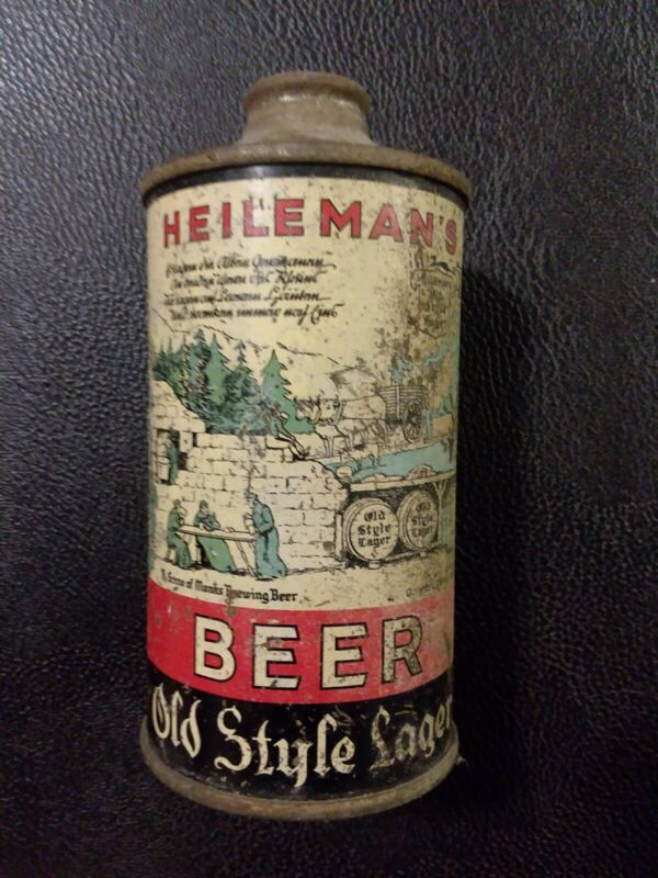 Vintage Heileman's Old Style Lager Cone Top Beer Can