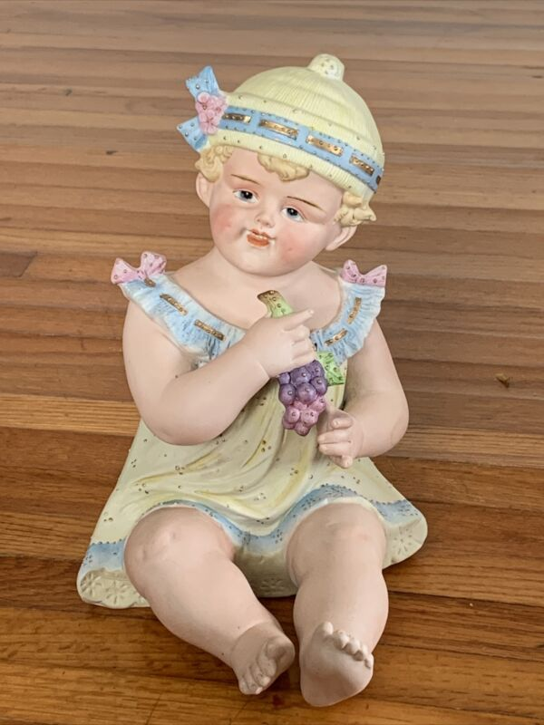 "Antique German Bisque Porcelain Piano Baby Figurine -  Girl 10"" circa 1800"