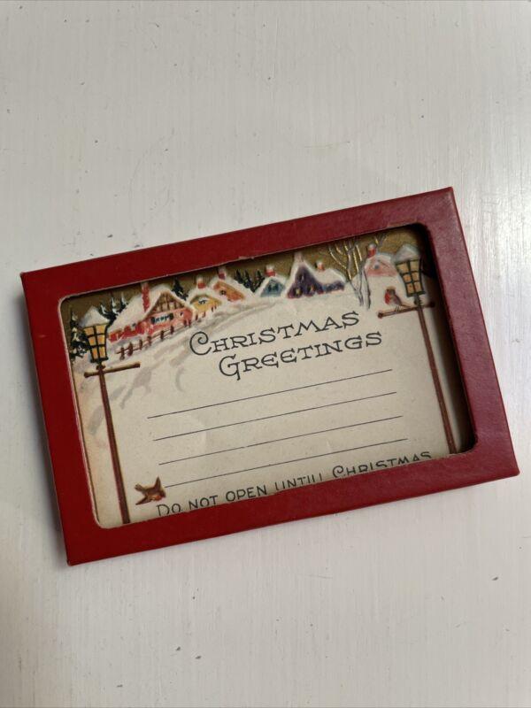 Vtg Gibson Xmas Postal Do Not Open Gummed Labels Embossed Winter Scene