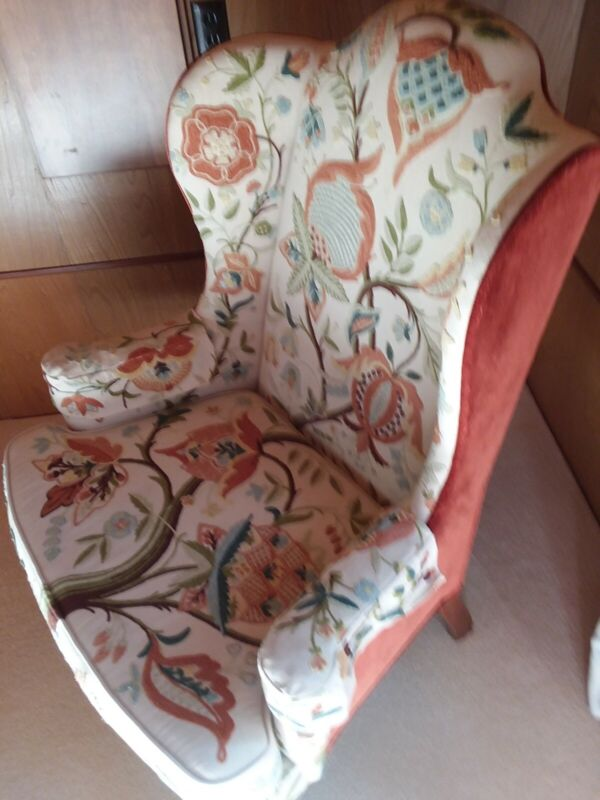Pair of signed Mary Webb Wood Woodmark Queen Anne wing chairs