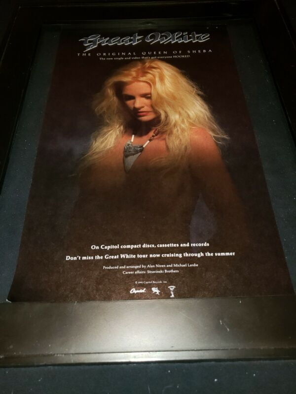 Great White The Original Queen Of Sheba Rare Radio Promo Poster Ad Framed!
