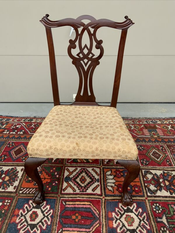 A Fine Antique Mahogany Chippendale Side Chair With Carved Splat. Essex Co, MA