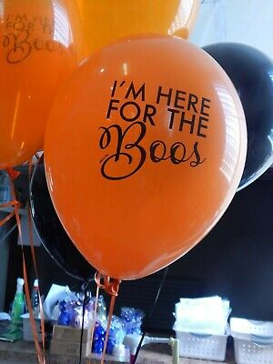 Boo Halloween Party (Halloween Balloons, Here for the Boo, Orange Black, Halloween Party Decor)