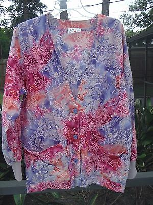 Peaches Brand Button Front Lab Coat / Jacket Uniform, Flowered, Size Small, Used, used for sale  Daytona Beach