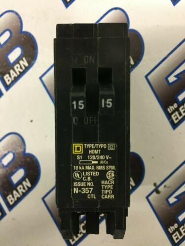 SQUARE D HOMT1515, (1) TANDEM  15 AMP (2) 1P 120V Circuit Breaker- WARRANTY