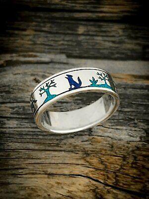 Sterling Silver Native American Wolf Scene Ring Turquoise & Lapis Lazuli inlay Lapis Lazuli Inlay Ring