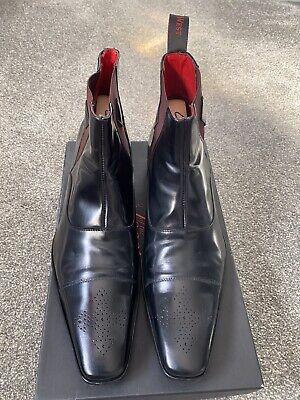 Jeffery West Black Polished Gerrard Chelsea Boot Size 10