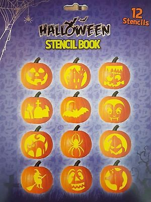 12 STENCILS HALLOWEEN STENCIL BOOK  PUMPKIN CARVING CRAFT PATTERN CUT OUT (Cute Halloween Pumpkin Carving Patterns)