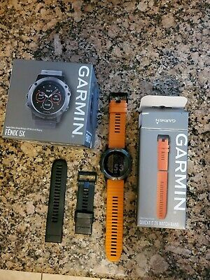 Garmin Fenix ​​5X GPS Sport Watch - Slate Gray Sapphire/Black, and Orange Band