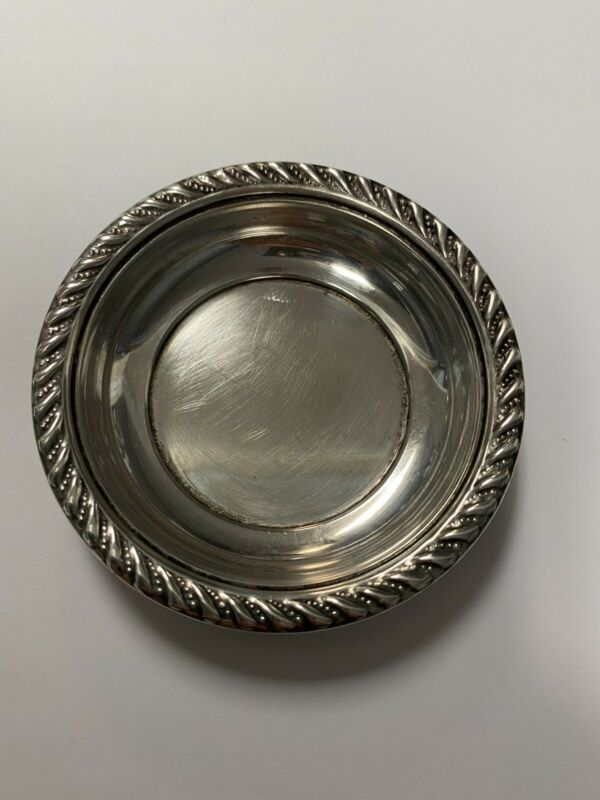 """Preisner Sterling Silver Small Round Nut Candy Dish Tray 3"""", #786, 0421"""