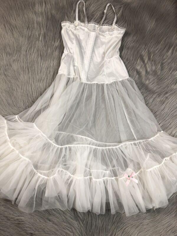 Vintage Girls Ivory White Sheer Ruffle Slip Petticoat Dress