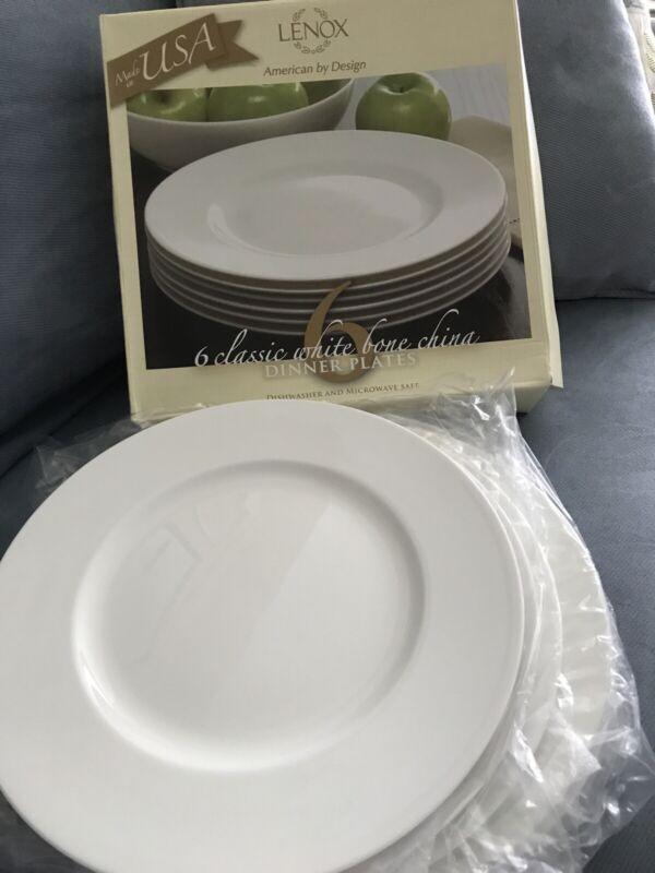 6 LENOX CLASSIC WHITE  Fine BONE CHINA DINNER PLATES Made In USA   NIB