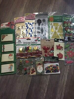 Huge Lot Christmas Crafts Stickers Stamps Confetti Lables ()