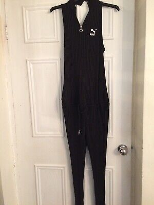 Puma Black Ribbed Zipped Neck Low Back Jumpsuit Size 12