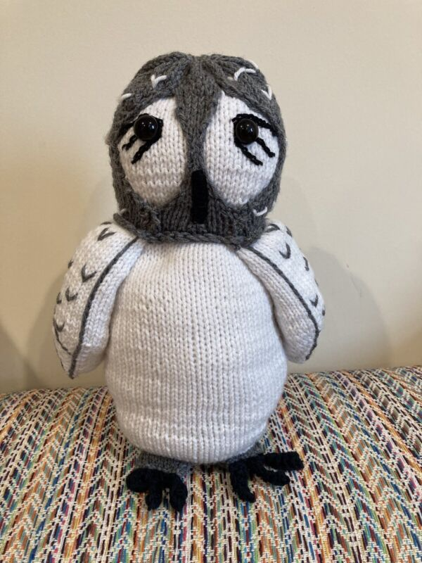 Handmade Crochet Owl, Stuffed Animal, white, 15 long, brand new